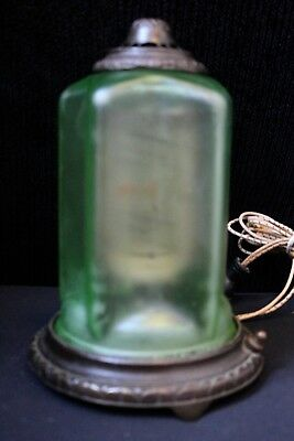 1930's Vintage Art Deco Green Satin Glass Gold Fish Motion Lamp