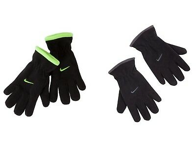 Nike NWT Youth Boys Fleece Gloves One Size fits most 8-20 Black Gray Volt Yellow