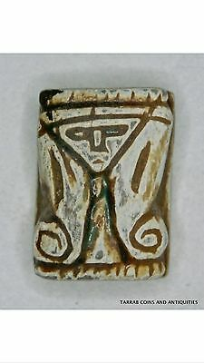 Ancient Egyptian Faience Amulet Hathor- Amenhotep 18Th Dynasty 1550-1292 B.c.