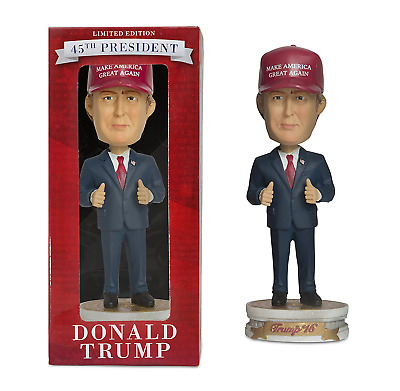 President America Donald Trump Stand Blue Suit Red Cap Bobblehead Figure Doll