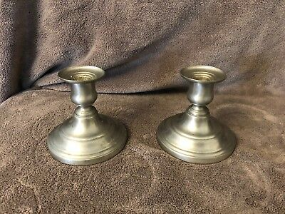 """4"""" Tall Pewter Candlesticks Candle Holders"""