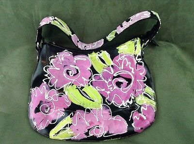 Unique Amazing Hand Painted Black Faux Leather Purse Purple Large Flowers
