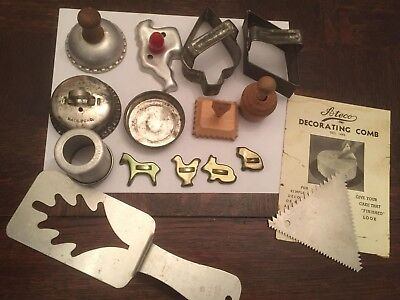 Vtg Lot 16 Cookie Biscuit Canape & Kid Cutters Cake Comb Mini Bundt Tin & Wood