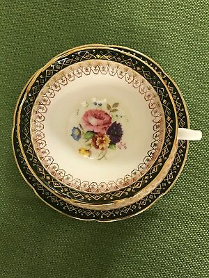 Royal Grafton Floral Tea Cup and Saucer with Dark Green & Gold Rim