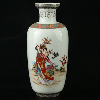 China Pastel Porcelain Hand Painted Beauty Vase Mark As The Qianlong  R1063.b