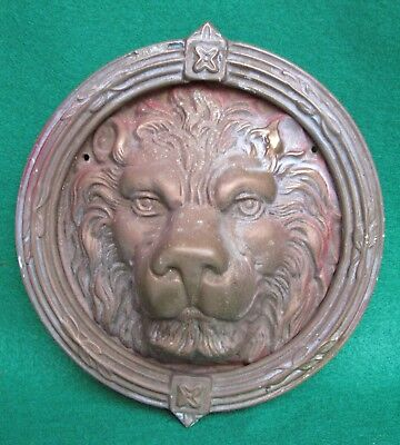ANTIQUE LARGE ELABORATE ORNATE LION's HEAD HEAVY BRASS DOOR KNOCKER 9""