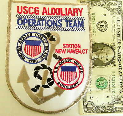 "U.s. Coast Guard Patch Uscg Auxiliary Operations Station New Haven,ct 5.5"" #ap"