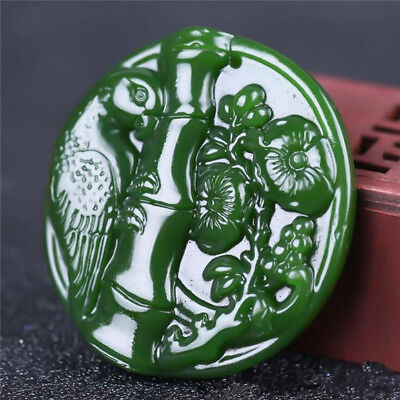 2018 new China hand-carved Green jade 喜上眉梢  jade pendant Necklace Amulet