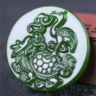 2018 new China hand-carved Green jade 独占鳌头  jade pendant Necklace Amulet