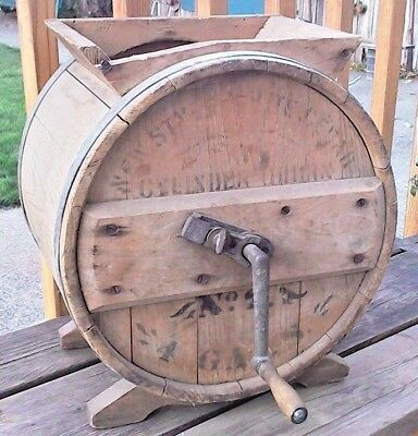 Antique NEW STYLE White Cedar CYLINDER Barrel BUTTER CHURN 4 Gallons Awesome!