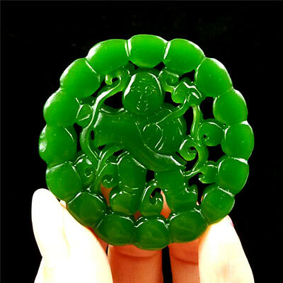 China hand-carved Green jade Lucky  jade pendant Necklace Amulet Human form