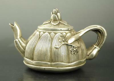 Chinese old copper plating silver engraving flower teapot / qianlong mark d02