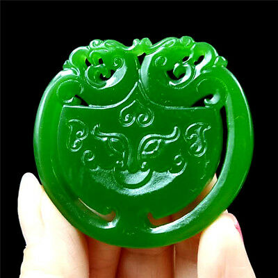 China hand-carved Green jade pixiu 貔貅 jade pendant Necklace Amulet