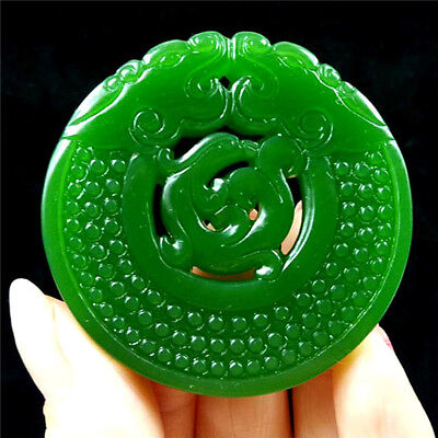 China hand-carved Green jade 古龙 jade pendant Necklace Amulet Loong