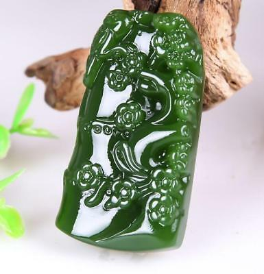 2018 new China hand-carved Green jade 竹报平安 jade pendant Necklace Amulet