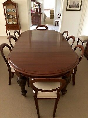 Antique Victorian Dining Table and 10 Chairs