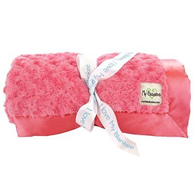 My Blankee Snail Luxe Extra Throw Blanket with Flat Satin Border, Strawberry, 59