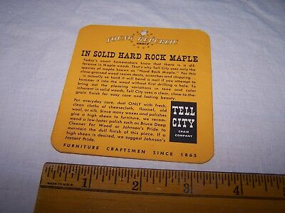 Vintage TELL CITY CHAIR COMPANY Tag - Hard Rock Maple - Indiana