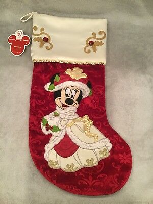 Disney Parks Minnie Mouse Red Victorian Christmas Holiday Stocking New