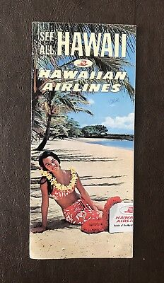 Vintage Hawaiian Airlines Promotional Brochure Of Hawaii