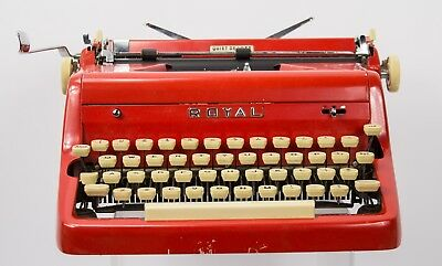 RED Royal Quiet Deluxe Portable Typewriter w/ Case Mid-Century Works!!