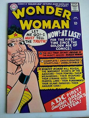 1966 #159 DC WONDER WOMAN UNREAD COMICS SUPER COLORS 12¢ 1st S.A.origin retold $
