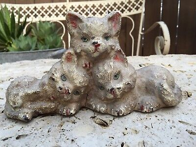 Rare GUARANTEED OLD Cast Iron 3 LITTLE KITTENS Door Stop - FREE SHIPPING