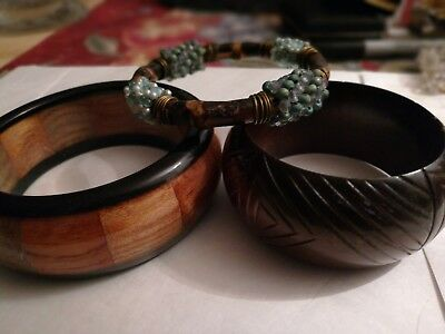 Lot of 3 Vintage Large Cuff Bracelets Wood Inlay, Bamboo & Carved Cuff NICE!