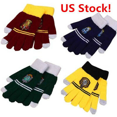 US! 1 Pair For HP Harry Winter Gloves Gryffindor Hufflepuff Slytherin Ravenclaw