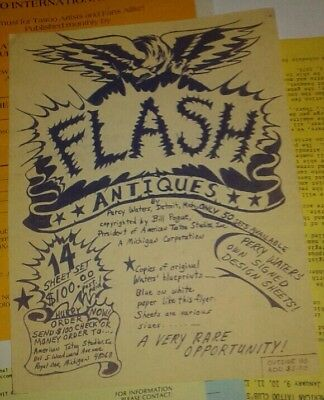 Vintage Percy Waters Tattoo Flash Flyer 1980s