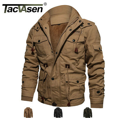 TACVASEN Mens Winter Thermal Fleece Jacket Air Force One Cargo Windbreaker Coats