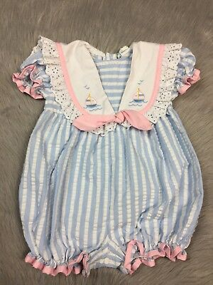 Vintage Baby Toddler Girls Blue White Pink Seersucker Striped Sailor Romper