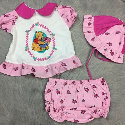 Vintage Disney Winnie The Pooh Baby Girls Top Bloomer Hat Set Pink Ruffle