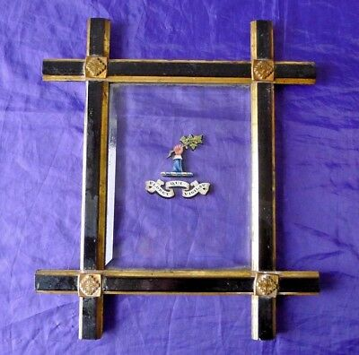 Glazed Hand Painted Heraldic Crest, Cross Order Of The Holy Sepulchre In Frame.