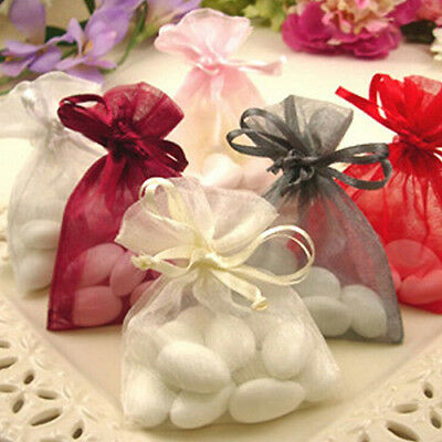 50 Pcs Organza Jewelry Gifts Drawable Box Wedding Gift Candy Mini Pouch Bag Prop