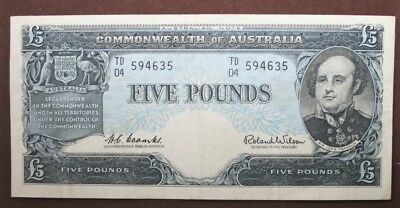 1960 Australian Five Pound Note- Coombs/Wilson- R50 EF+