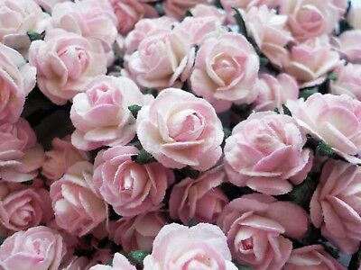 100 Cute Mulberry Paper Roses - 10mm - Pale Pink White Blush Rose Embellishments