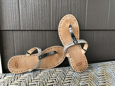 """0fc5449d945 UGG """"BRIA"""" SILVER Leather Braided SandalsThong T Strap Flip Flops Size 8"""