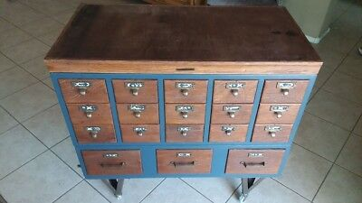 Vintage 18 Drawer  Library Card Catalog File Wood Cabinet Library Bureau Makers