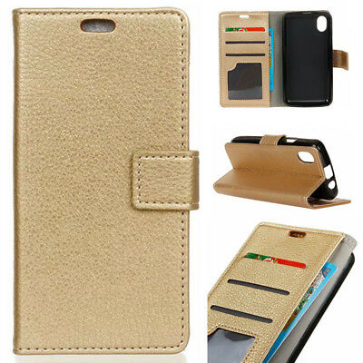 For Alcatel 1 3 5 3X 1X 3C 3V 5V Gold Litchi Flip PU Leather Wallet Case Cover