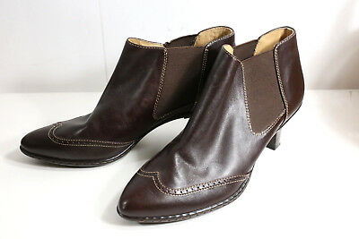 4b14ce9ad663 SOFFT Womens 8 Brown Leather Wingtip Side Zip Ankle Boots Booties Shoes  Heels