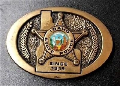 Idaho State Police Brass Vintage Belt Buckle Great Collectors Piece Rare Find