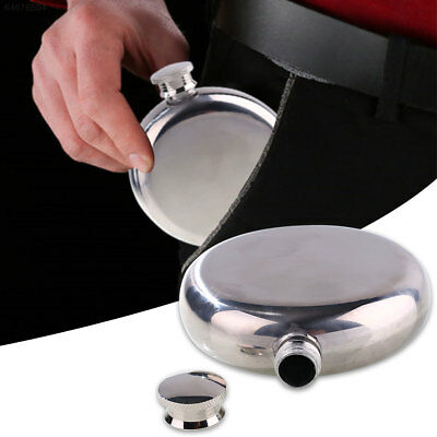 A650 Portable 5-oz Round Wine Pot Flagon Hip Flask Stainless Steel With Small Fu