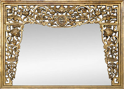 A Large Chinese Antique Carved and Pierced Wooden Frame Mirror.