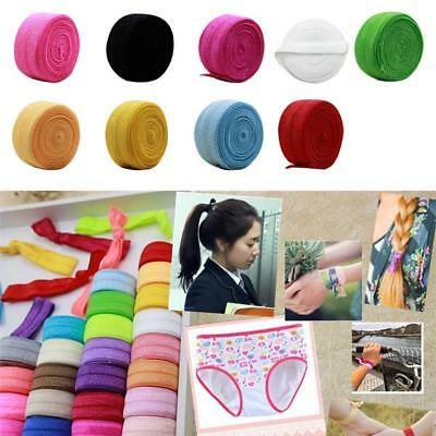 10 yards Fold Over Elastic Trim Band For DIY Headband Craft Accessory 24 Colours