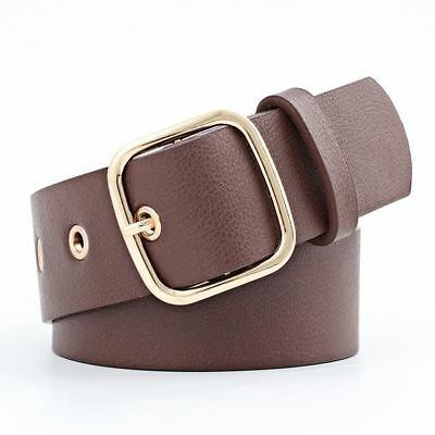 Women New Fashion Pu Leather Wide Strap Gold Color Metal Pin Buckle Belt