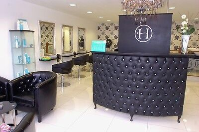 Large Curved Reception Desk-Retail Cash desk with padded front - Shabby Chic