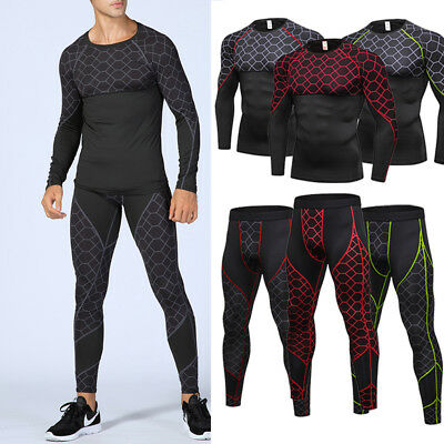Mens Compression Athletic Legging Long Pants Gym Shirt Workout Running Training