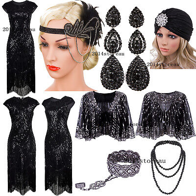 Black Dress Vintage Retro 1920s Flapper Dresses Gatsby Evening Gowns Plus Size