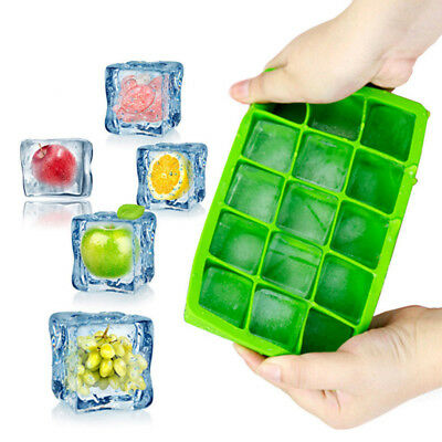 Silicone 15 Grids Ice Cube Tray Large Mould Mold Giant Maker 3.5x3.5x3 CM Square